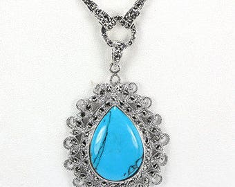 Ancient Egyptian Cleopatra 14k White Gold Vermeil Turquoise & Marcasite Teardrop Pendant Necklace - Truly Venusian