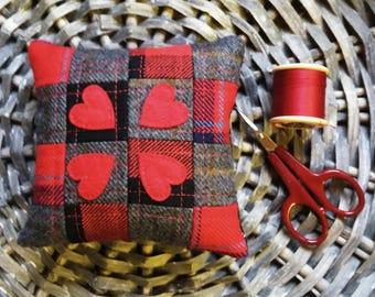 Tartan, Tweed, Heart, Patchwork, Pincushion, Handmade, Scotland