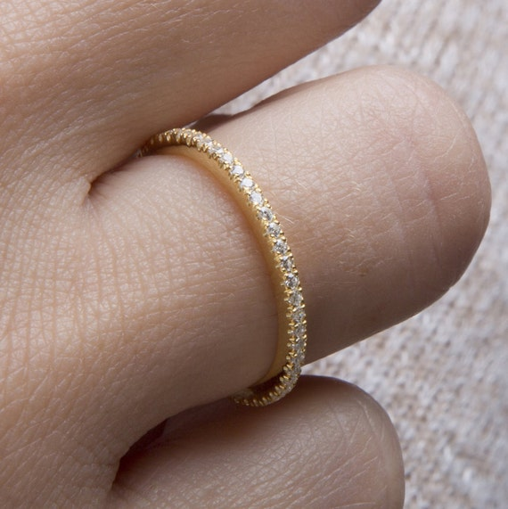 Diamond eternity band Micro pave ring All around diamond