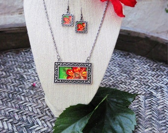 Red Dahlia Necklace and Earring Set