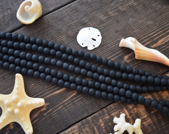 """Frosted Black, 6mm Round Cultured Glass Beads, 34 beads, 8"""" strand, Cultured Sea Glass, Jewelry Making Supplies"""