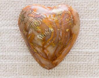 Neutral Toned Heart Brooch Vintage Bronze Brown Orange Gold Natural Colors Plastic Broach Vtg Pin 7JJ 1