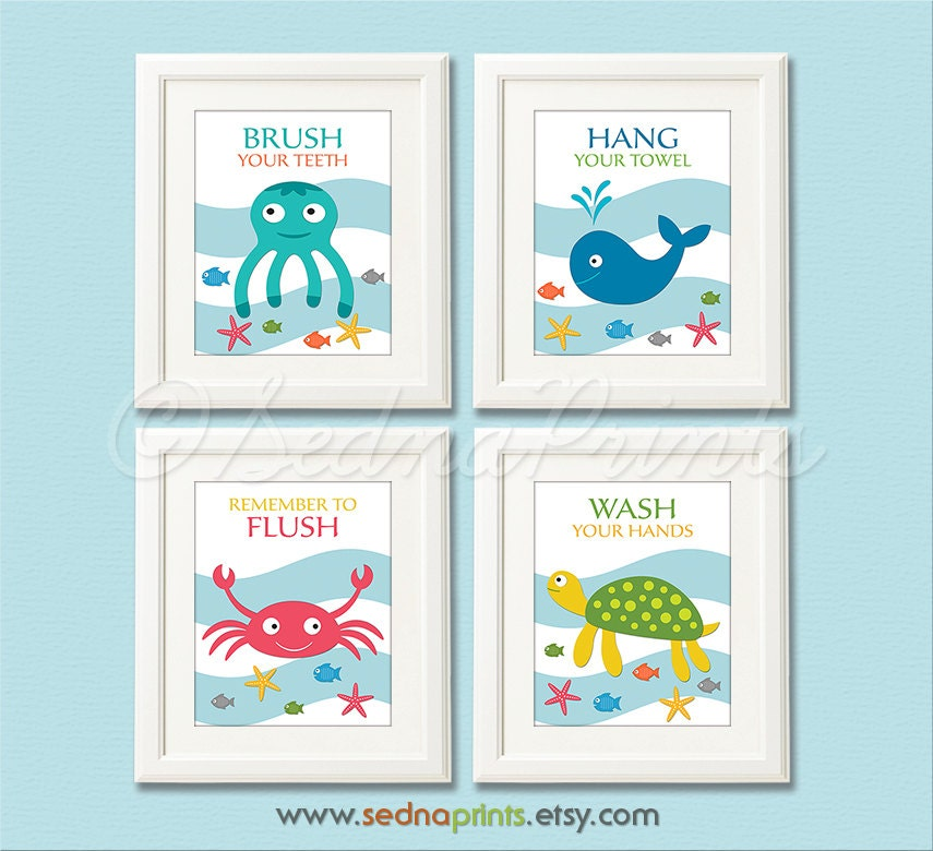 Interior Pictures For Bathroom Wall bathroom art print set 5x7 kids wall decor