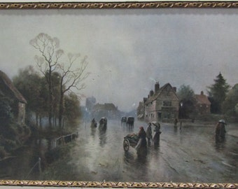 J W Gozzard Artist Print-English Village Scene