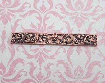 Copper Floral Embossed Bar Finding 1874C