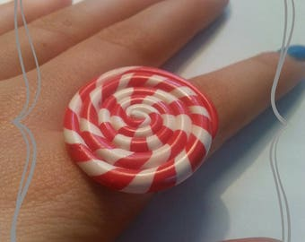 Ring adjustable polymer clay Lollipop red and white
