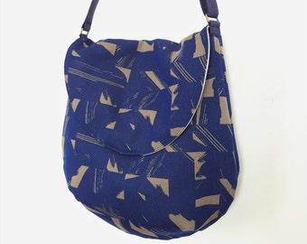 Shoulder Bag, Saddlebag, Women's Handbag, Blue Purse, Spring Bag, 80's Bag, Upcycled Bag, Repurposed Bag