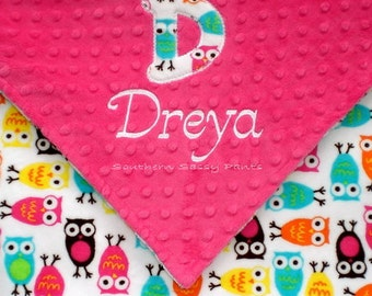 Baby Girl Owl Blanket , Minky Blanket with Applique Initial and Name , Baby - Toddler Blanket 30x36