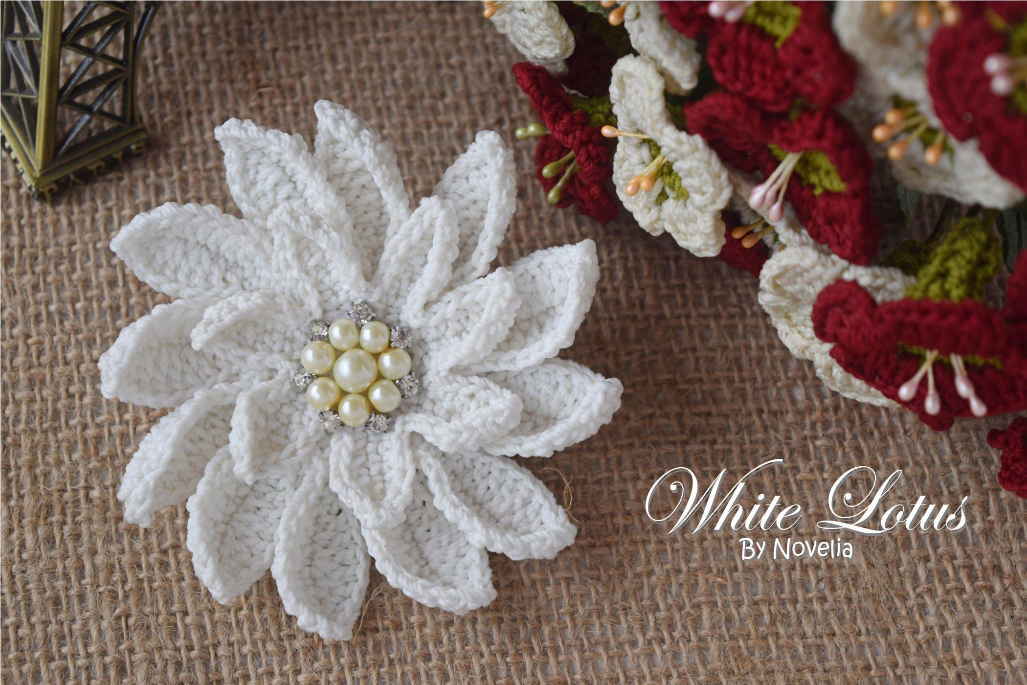 PATTERN Crochet Flower White Lotus Wedding Accessories Hairpin ...
