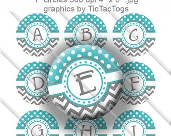 Aqua Polka dot Gray Chevron Alphabet Bottle Cap Images Digital Collage 1 Inch A-Z Digi - Instant Download - BC324