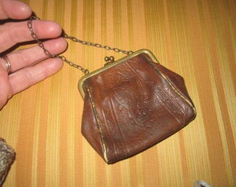 Antique Circa 1905 Sweet Little Arts and Crafts Tooled Worn Leather Purse