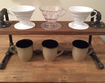 Black Steel Coffee Pourover Stand (Triple, 3 Cup Brewer -  Hario V60 & Kalita Wave Drippers)