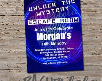 Escape Room birthday party invitation, breakout room, unlock, boy, girl, teen, adult, 13th birthday, digital download, printable template