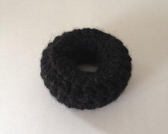 Black hair donut, 3 sizes, hair bun, hair helper, bun holder, hair rat, pinup, ballet, vintage inspired, plastic free