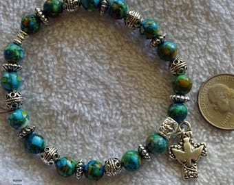 Turquoise Bead Stretch Bracelet with Silver Dove Cross Charm