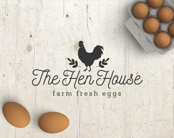 Business Logo - Logo Design - Premade Logo - Pre-designed Personalized - Customized Eggs Chicken Hen Farm Graphic Design Professional Logo