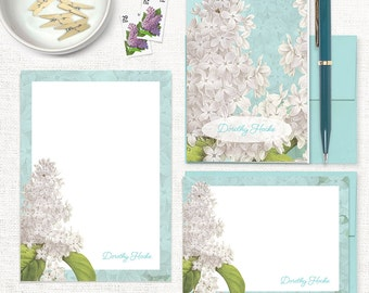 complete personalized stationery set - GRANDMA'S LILACS in AQUA - note cards - notepad - custom stationary - stationery gift set