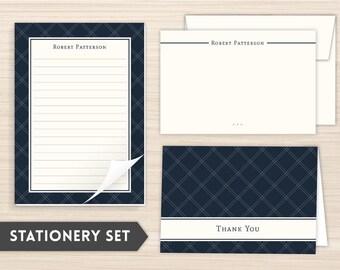 Teacher Gift Idea |Personalized Stationery Set | Stationery Set | Custom Stationery | Personal Stationery |  Elegant Stationery | Navy Plaid