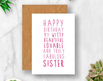 Sweet Description Happy Birthday Sister Card, Sister Birthday Card, Card for Sister, Card for Sister Birthday, Sister Card