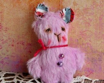 Handmade Mini 2 inch Teddy Bear by Woollybuttbears - perfect pet for Blythe doll