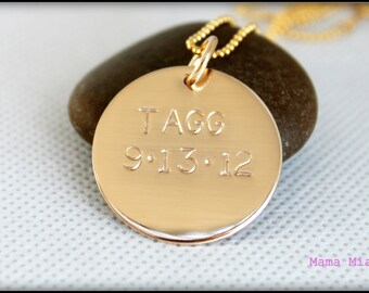 Gold Hand Stamped Necklace, Gold Filled Necklace, Mommy Necklace, Personalized Necklace, 1 inch Disc Necklace, Gold Name Necklace, Mama Mia