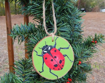 Lady bug Hand painted wood slice ornament