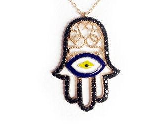 Lucy Eye Hamsa Necklace