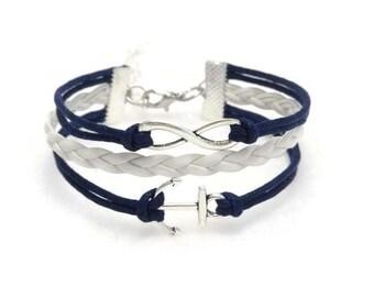 Anchor Bracelet, Infinity Anchor Bracelet, Nautical Bracelet, Anchor Jewelry, Nautical Jewelry, Anchor Jewellery, Gift for Girls