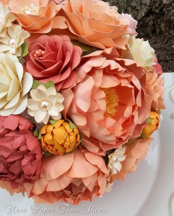 Paper Bouquet Paper Flower Bouquet Wedding Bouquet Peach