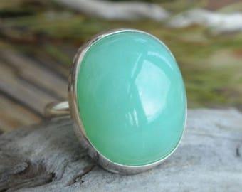 Chrysoprase Ring  & Sterling silver 925. Statement Ring. Silver ring with huge Chrysoprase stone. Gift Idea
