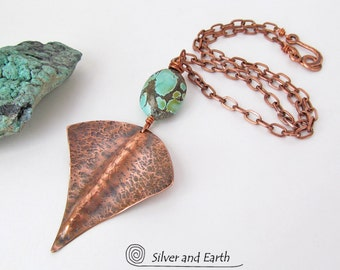 Natural Turquoise Copper Necklace, Bohemian Tribal Necklace, Copper Metalwork Pendant on Copper Chain, Handmade Rustic Earthy Tribal Jewelry