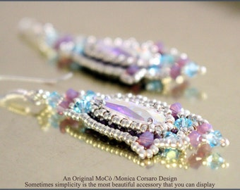 DIY Photo Tutorial Eng-ITA ,*Elegancia* earrings ,PDF Pattern 79with cabochon,swarovski and seed beads,instructions,bead weaving