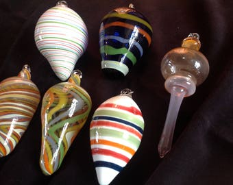 Glass Ornaments group of 6