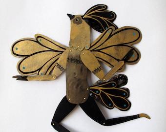 Golden Bird Man / Paper Doll Articulated / Hinged Beasts Series