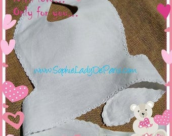 Victorian White Hemp Baby Bib French Handmade Lined #sophieladydeparis