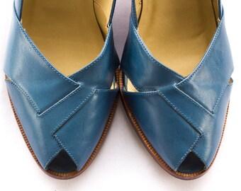 Blue leather peep toe heels