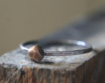 Bronze stack Ring, Silver and Bronze Ring, Silver Stacking Ring, Hammered Silver Ring, Mixed Metals Ring, Rustic Silver Ring, Metalwork Ring
