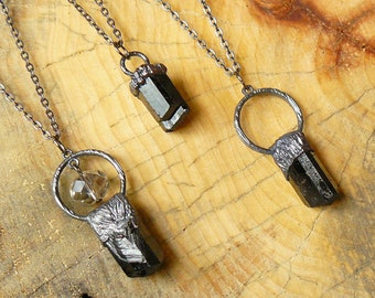 Black tourmaline raw pendant, electroforming, hand crafted, electroformed, electroplated stone, semiprecious crystal