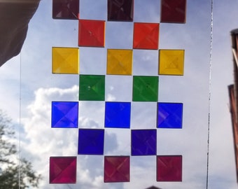 Dichroic Rainbow Color Glass Bevels 1 inch squares - set of 7 - ROYGBIV - stained glass
