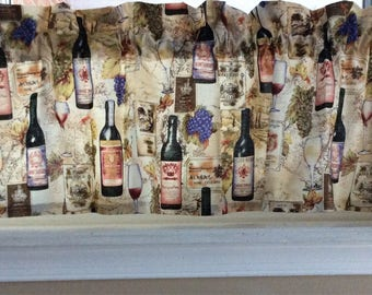 "Wine bottles and glasses Valance Curtain 42"" W x 13"""