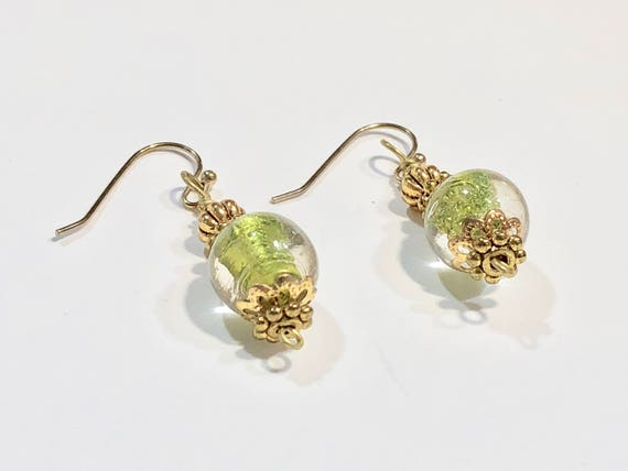 SJC10026 - Handmade translucent green round glass bead earrings with gold plated ear wires and beads