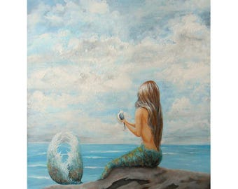 Beautiful mermaid wall art print, Beach house decor, mermaid painting print, original artwork by Nancy Quiaoit