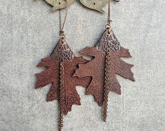 Maple Leaf Leather Earrings with Chain Tassels Dangle Drop Earrings Embossed Leather Leaves Earrings Brown Leather Earrings Tooled Leather