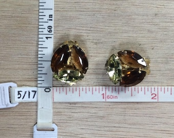 Vintage Gold Toned Amber Green Rhinestone Clip On Earrings Used
