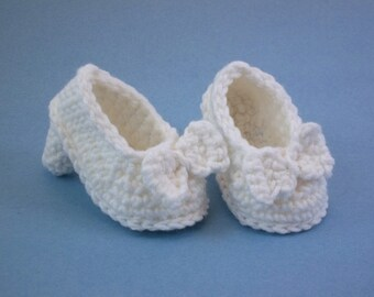 Crochet Baby Booties White High Heeled Shoes  with Bow Baby Shoes