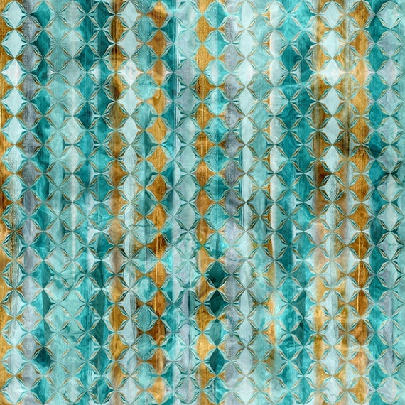 Designer Fabric Abstract Blue Gold Copper Stripe Handmade Velvet Upholstery Fabric