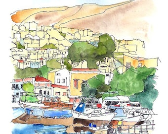 Boats in the harbour on the Greek island of Symi