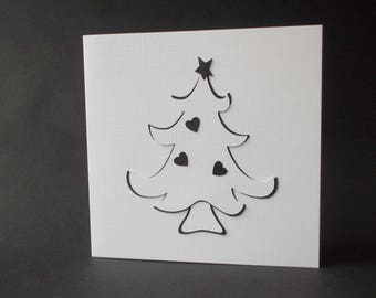 Handmade Christmas Card - tree with hearts (black and white)