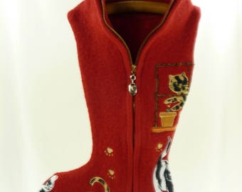 Christmas Stocking Boiled Wool Felt Lisa International Cats OOAK Applique Embroidery Beads Red Gold Zipper Recycled Repurposed 909