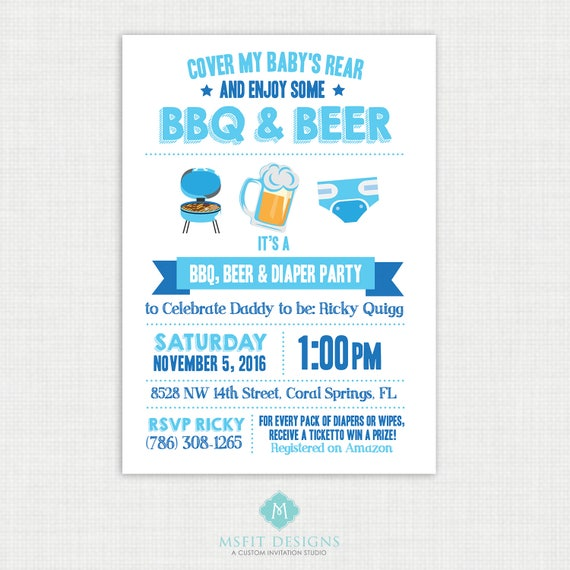 Beer and Diaper Party Invitation, Diaper Party Invite, For Men & Women, Co-ed Baby Shower Invite, Digital File, Chalkboard